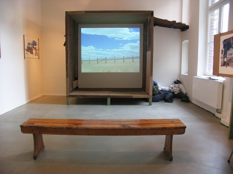 The Paradox of the 10 Acres Square, 2005|Site specific room installation, incl. one channel |video, fence dummies etc.
