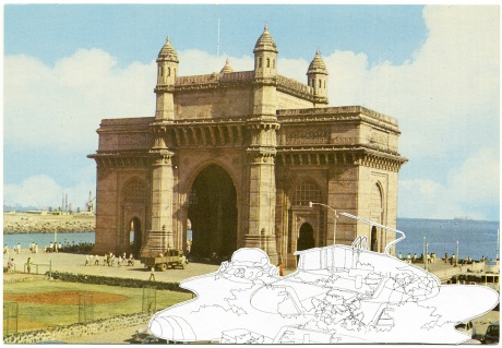 Kim Schoenstadt, Sightline Series, 2011|No. 8 A gateway of India, Bombay|Gefunde Postkarte und Zeichnung|14,5 x 10 cm