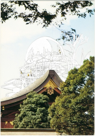 Kim Schoenstadt, Sightline Series, 2011|Main Shrine of the Meiji Jingu|Gefunde Postkarte und Zeichnung|10,5 x 15 cm