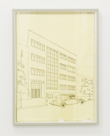 Jan Visek|Project for Silhan Sanatorium, perspective view, Brno-Veveri 1929-35 / 2010-2012, india ink on paper, 64 x 47cm