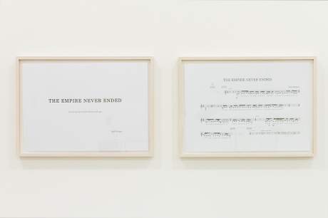Erik Bünger|The Empire Never Ended, 2012, Partitur (12 Seiten), ›Banta Trance Speech‹ (1948, 8:29 min) (Detail)